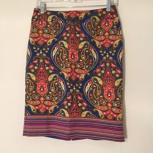 Paisley Pencil Skirt in Vibrant Colors
